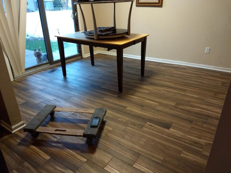 Wood Grain Look in Ceramic Tile Installation